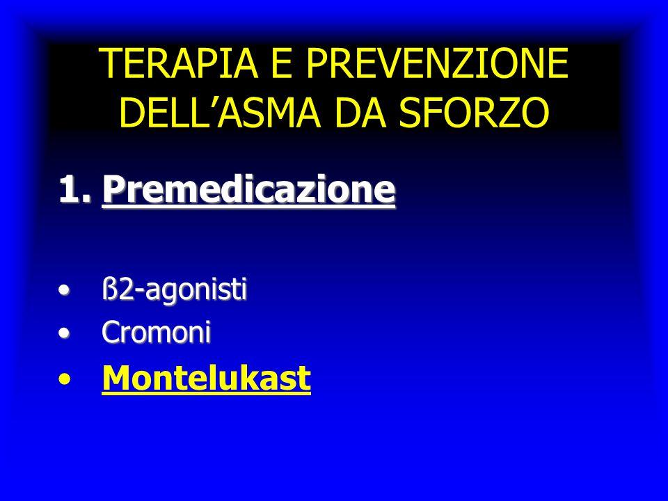 TERAPIA E PREVENZIONE DELL'ASMA DA SFORZO 1.Premedicazione ß2-agonistiß2-agonisti CromoniCromoni Montelukast