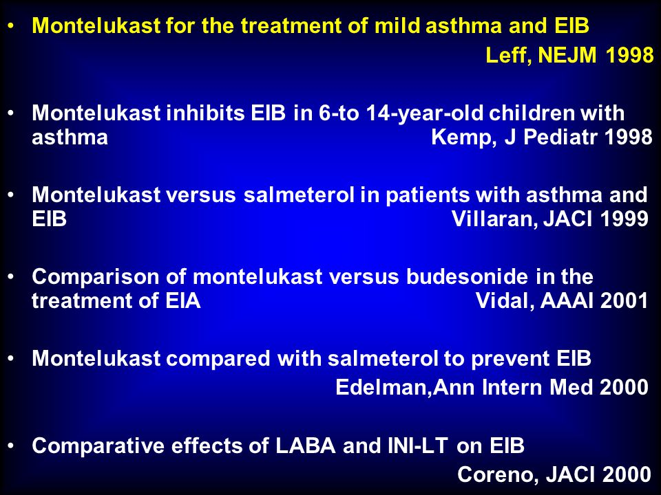 Montelukast for the treatment of mild asthma and EIB Leff, NEJM 1998 Montelukast inhibits EIB in 6-to 14-year-old children with asthma Kemp, J Pediatr