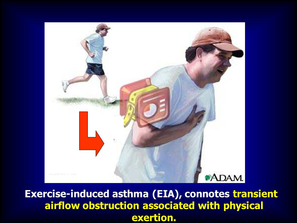 Exercise-induced asthma (EIA), connotes transient airflow obstruction associated with physical exertion.