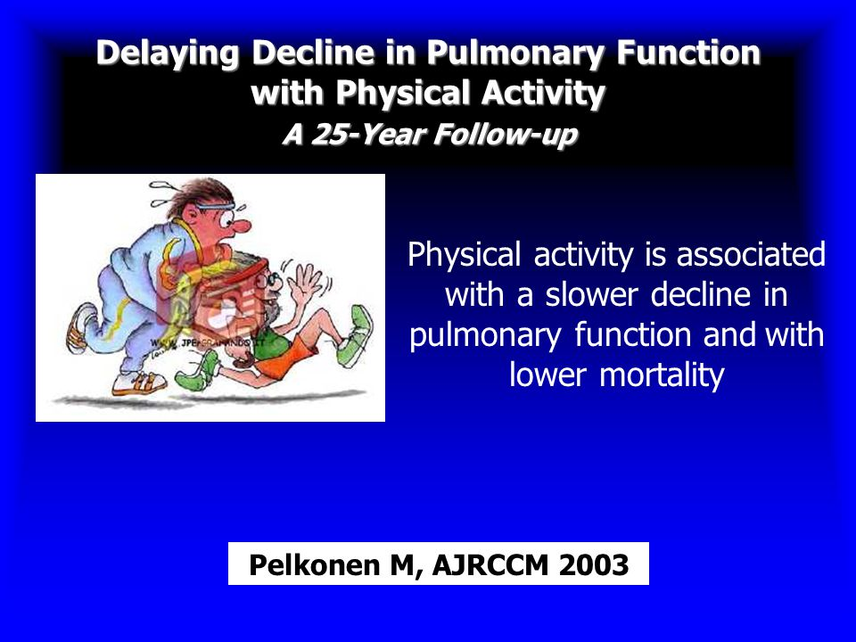 Delaying Decline in Pulmonary Function with Physical Activity A 25-Year Follow-up Pelkonen M, AJRCCM 2003 Physical activity is associated with a slowe