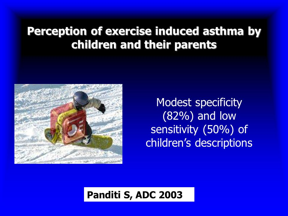 Perception of exercise induced asthma by children and their parents Modest specificity (82%) and low sensitivity (50%) of children's descriptions Pand