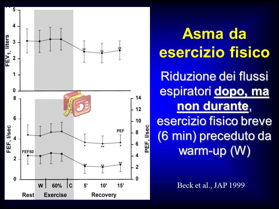 Asma da esercizio fisico Riduzione dei flussi espiratori dopo, ma non durante, esercizio fisico breve (6 min) preceduto da warm-up (W) Beck et al., JAP 1999