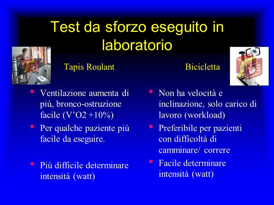 Test da sforzo eseguito in laboratorio Tapis Roulant Ventilazione aumenta di più, bronco-ostruzione facile (V'O2 +10%) Per qualche paziente più facile da eseguire.