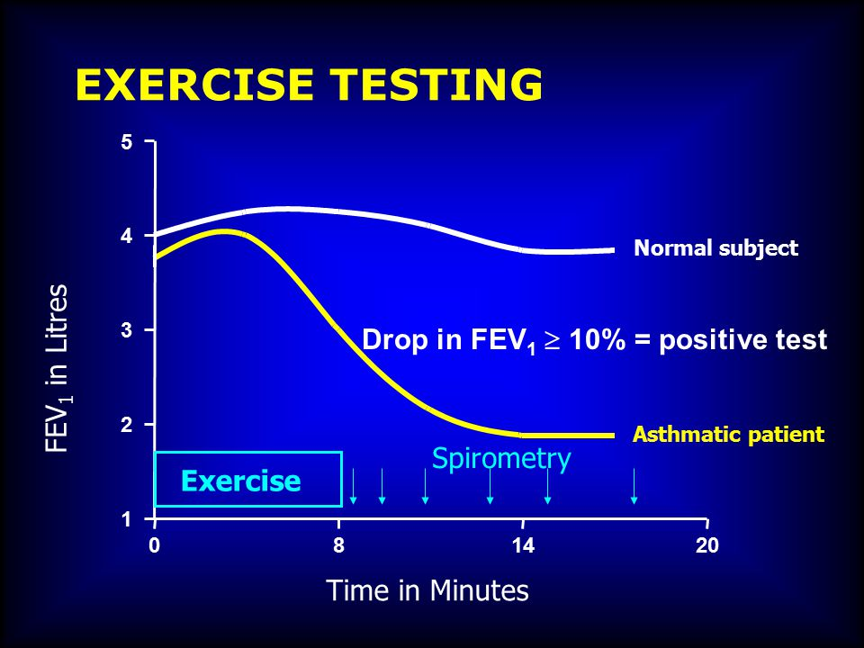 Time in Minutes FEV 1 in Litres 1 2 3 4 5 Asthmatic patient Normal subject Exercise 814200 EXERCISE TESTING Drop in FEV 1  10% = positive test Spirom