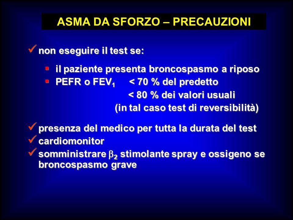ASMA DA SFORZO – PRECAUZIONI non eseguire il test se: non eseguire il test se: presenza del medico per tutta la durata del test presenza del medico pe