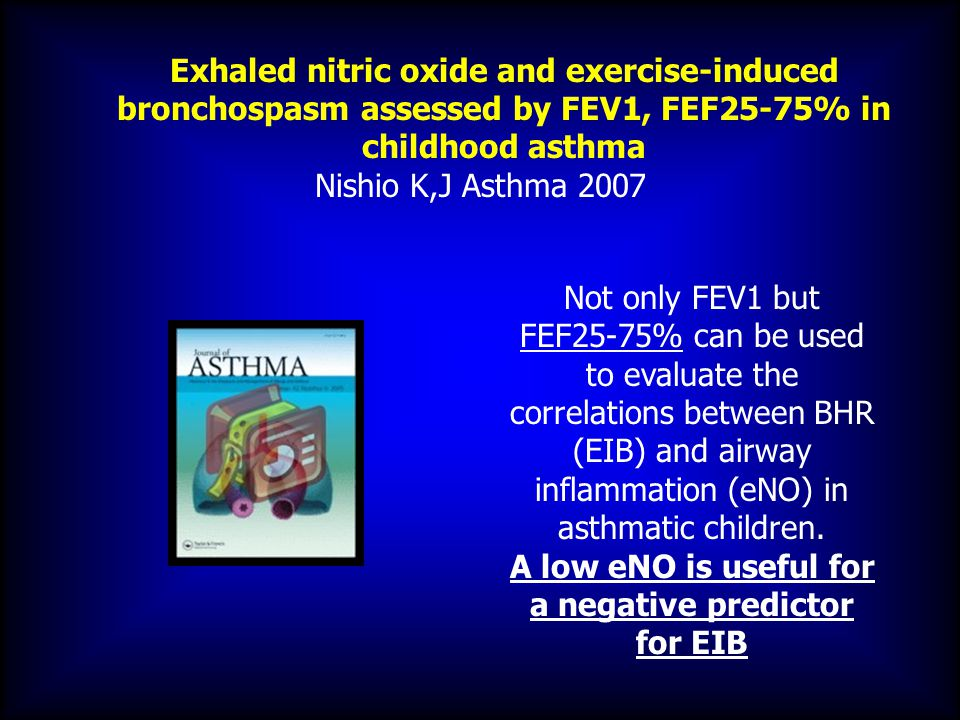 Exhaled nitric oxide and exercise-induced bronchospasm assessed by FEV1, FEF25-75% in childhood asthma Nishio K,J Asthma 2007 Not only FEV1 but FEF25-