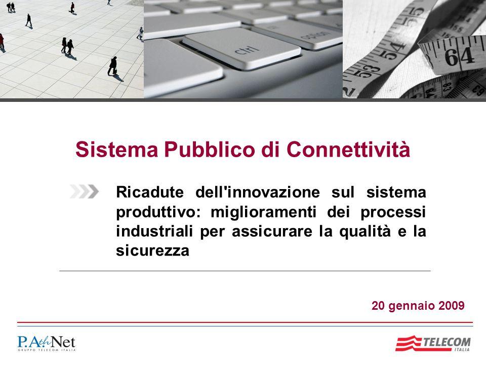 Sistema Pubblico di Connettività Ricadute dell innovazione sul sistema produttivo: miglioramenti dei processi industriali per assicurare la qualità e la sicurezza 20 gennaio 2009