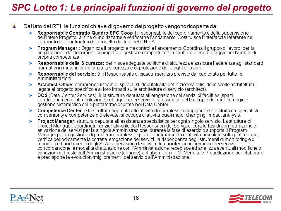 16 SPC Lotto 1: Le principali funzioni di governo del progetto Dal lato del RTI, le funzioni chiave di governo del progetto vengono ricoperte da: Resp