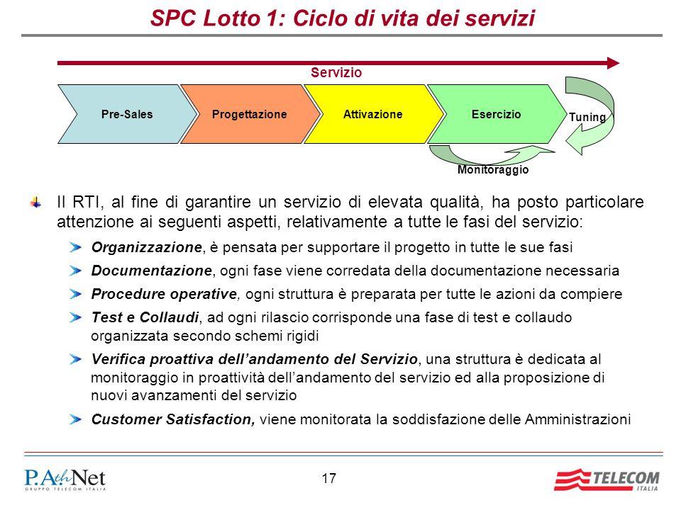 17 SPC Lotto 1: Ciclo di vita dei servizi Il RTI, al fine di garantire un servizio di elevata qualità, ha posto particolare attenzione ai seguenti asp
