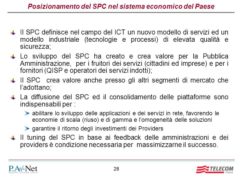 26 Posizionamento del SPC nel sistema economico del Paese Il SPC definisce nel campo del ICT un nuovo modello di servizi ed un modello industriale (tecnologie e processi) di elevata qualità e sicurezza; Lo sviluppo del SPC ha creato e crea valore per la Pubblica Amministrazione, per i fruitori dei servizi (cittadini ed imprese) e per i fornitori (QISP e operatori dei servizi indotti); Il SPC crea valore anche presso gli altri segmenti di mercato che l'adottano; La diffusione del SPC ed il consolidamento delle piattaforme sono indispensabili per : abilitare lo sviluppo delle applicazioni e dei servizi in rete, favorendo le economie di scala (riuso) e di gamma e l'omogeneità delle soluzioni garantire il ritorno degli investimenti dei Providers Il tuning del SPC in base ai feedback delle amministrazioni e dei providers è condizione necessaria per massimizzarne il successo.