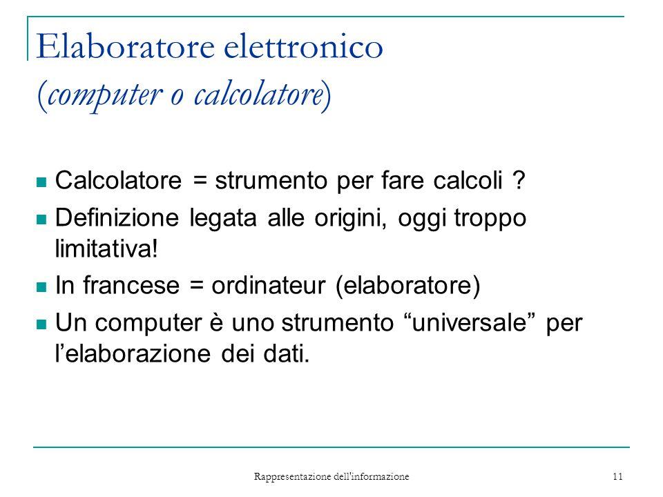 Rappresentazione dell'informazione 11 Elaboratore elettronico (computer o calcolatore) Calcolatore = strumento per fare calcoli ? Definizione legata a