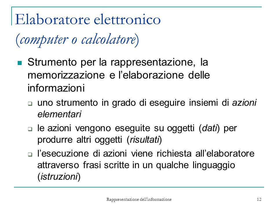 Rappresentazione dell'informazione 12 Elaboratore elettronico (computer o calcolatore) Strumento per la rappresentazione, la memorizzazione e l'elabor