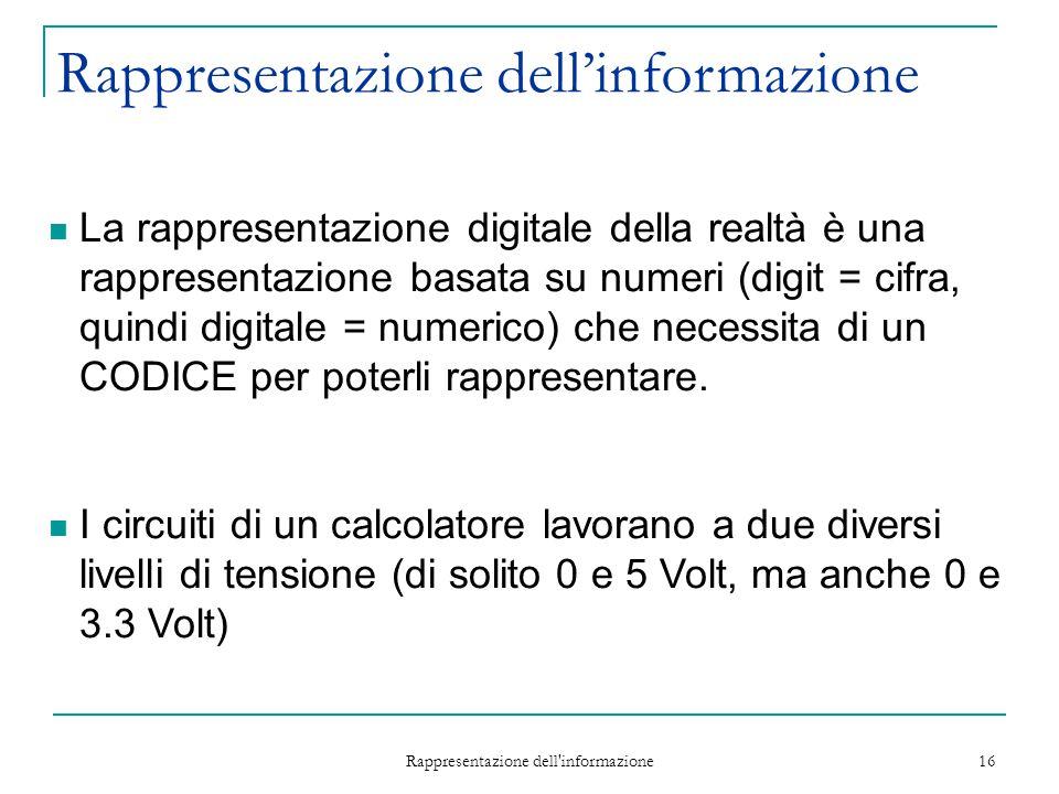 Rappresentazione dell'informazione 16 La rappresentazione digitale della realtà è una rappresentazione basata su numeri (digit = cifra, quindi digital