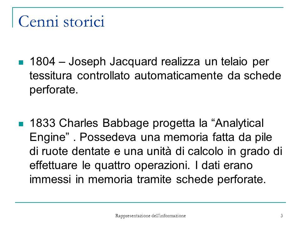 Rappresentazione dell'informazione 3 Cenni storici 1804 – Joseph Jacquard realizza un telaio per tessitura controllato automaticamente da schede perfo