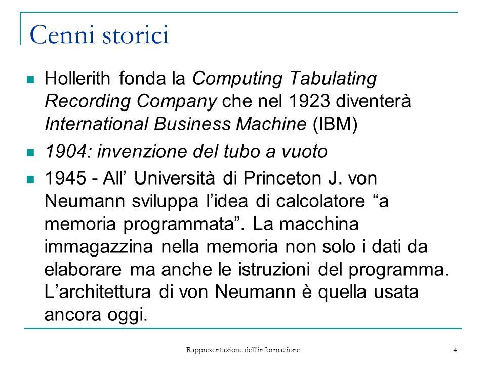 Rappresentazione dell'informazione 4 Cenni storici Hollerith fonda la Computing Tabulating Recording Company che nel 1923 diventerà International Busi