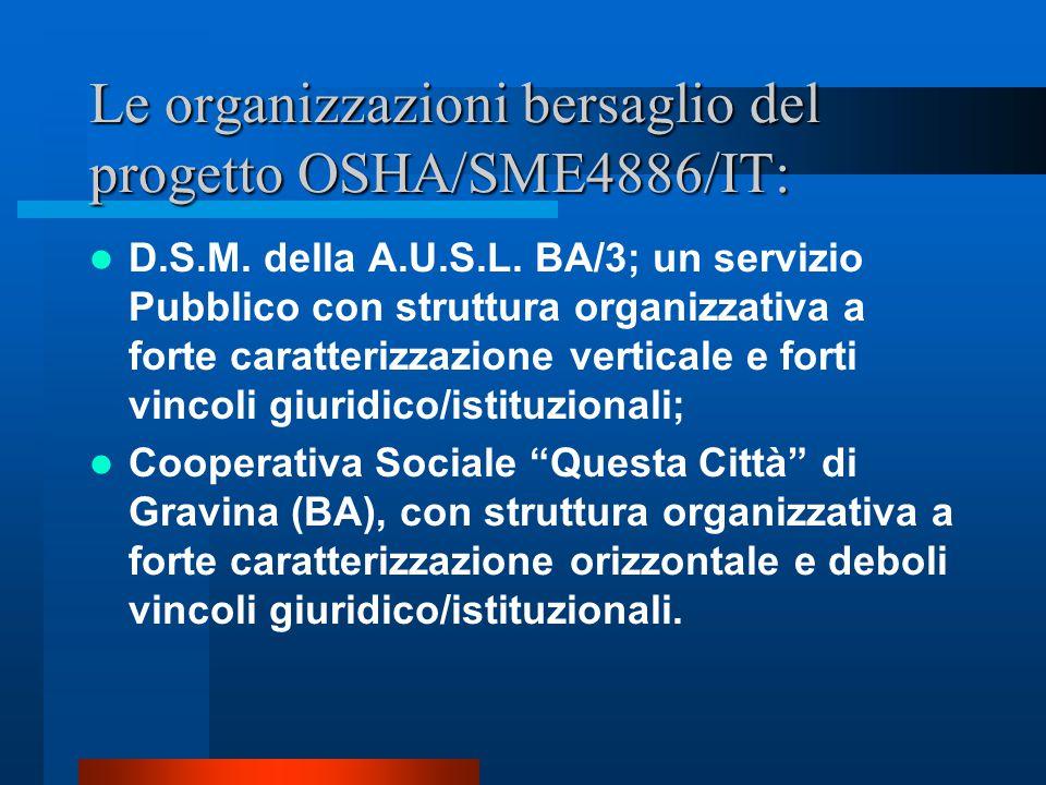 Le organizzazioni bersaglio del progetto OSHA/SME4886/IT: D.S.M.