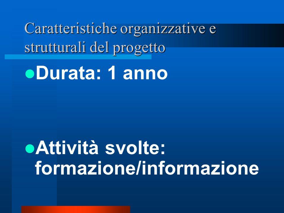 Caratteristiche organizzative e strutturali del progetto Durata: 1 anno Attività svolte: formazione/informazione