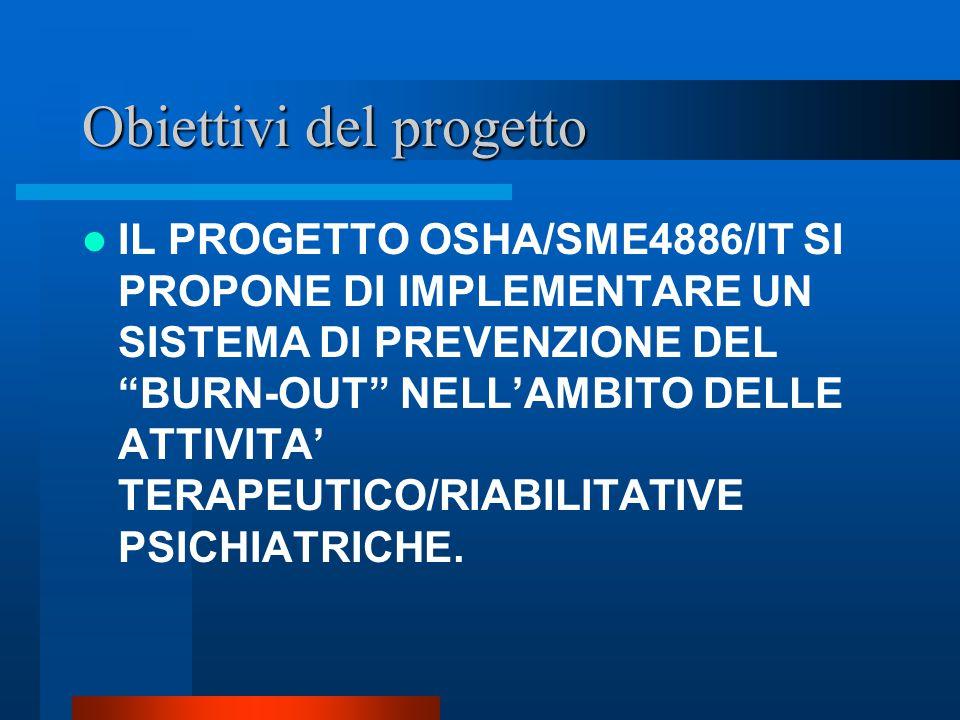 Obiettivi del progetto IL PROGETTO OSHA/SME4886/IT SI PROPONE DI IMPLEMENTARE UN SISTEMA DI PREVENZIONE DEL BURN-OUT NELL'AMBITO DELLE ATTIVITA' TERAPEUTICO/RIABILITATIVE PSICHIATRICHE.
