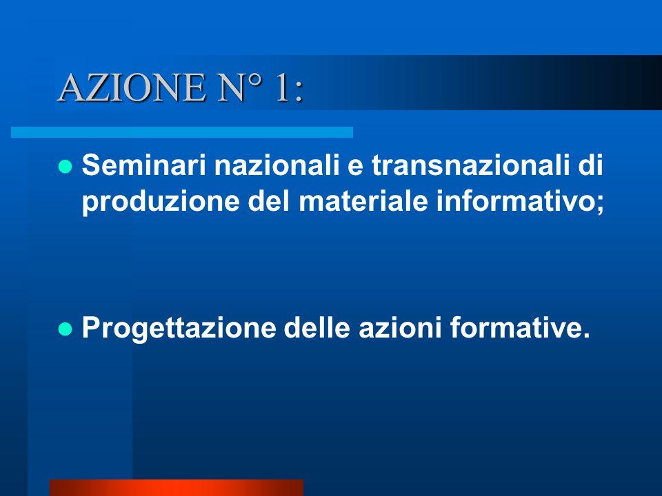 AZIONE N° 1: Seminari nazionali e transnazionali di produzione del materiale informativo; Progettazione delle azioni formative.