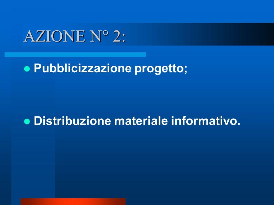 AZIONE N° 2: Pubblicizzazione progetto; Distribuzione materiale informativo.