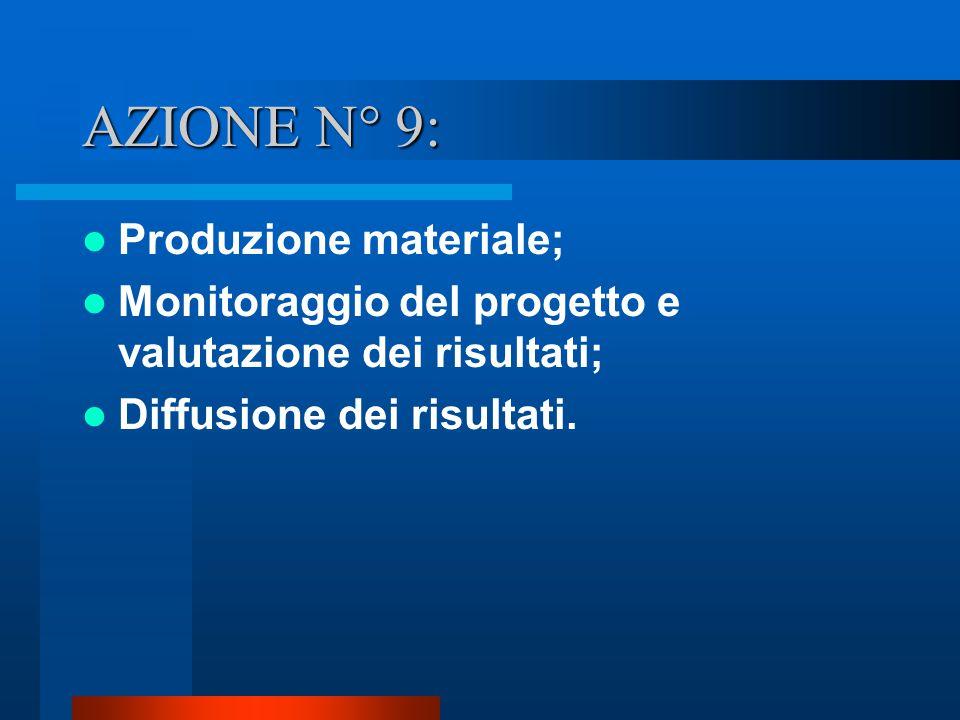 AZIONE N° 9: Produzione materiale; Monitoraggio del progetto e valutazione dei risultati; Diffusione dei risultati.