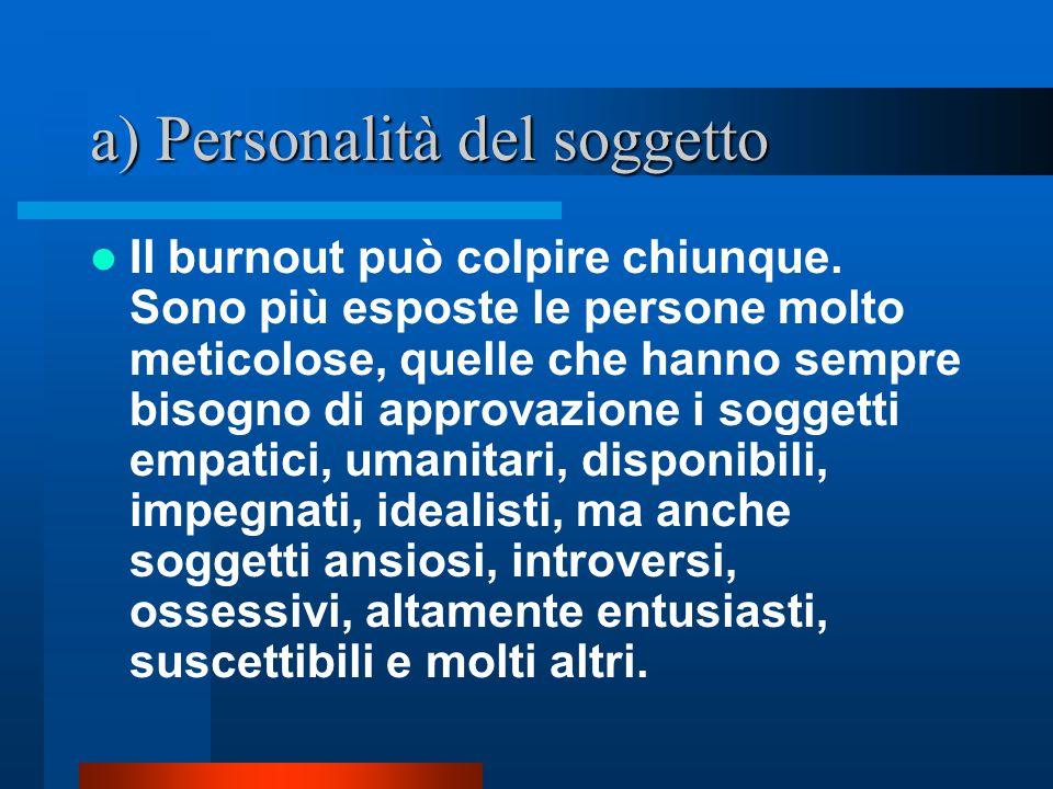a) Personalità del soggetto Il burnout può colpire chiunque.