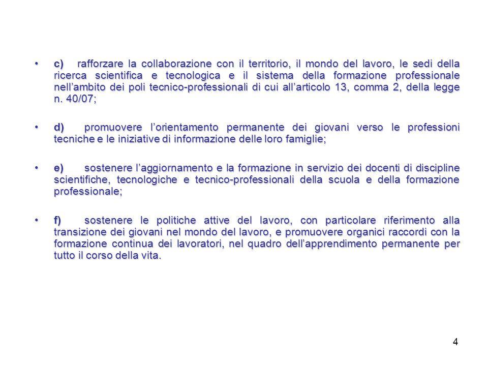 4 c) rafforzare la collaborazione con il territorio, il mondo del lavoro, le sedi della ricerca scientifica e tecnologica e il sistema della formazione professionale nell'ambito dei poli tecnico-professionali di cui all'articolo 13, comma 2, della legge n.