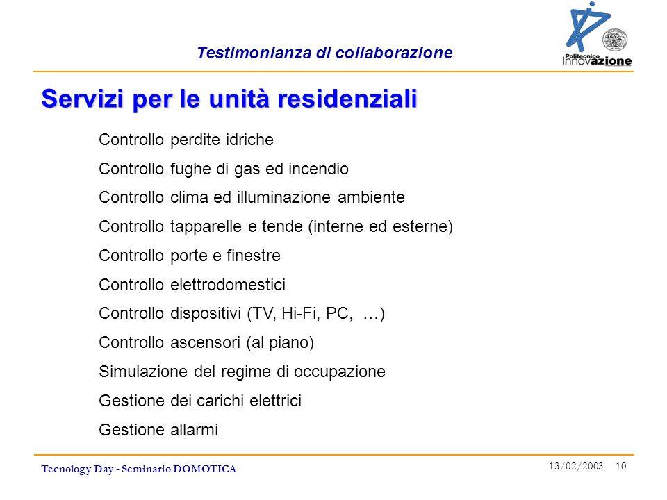 Testimonianza di collaborazione Tecnology Day - Seminario DOMOTICA 13/02/2003 10 Controllo perdite idriche Controllo fughe di gas ed incendio Controll