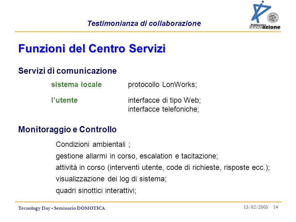 Testimonianza di collaborazione Tecnology Day - Seminario DOMOTICA 13/02/2003 14 Funzioni del Centro Servizi sistema localeprotocollo LonWorks; l'uten
