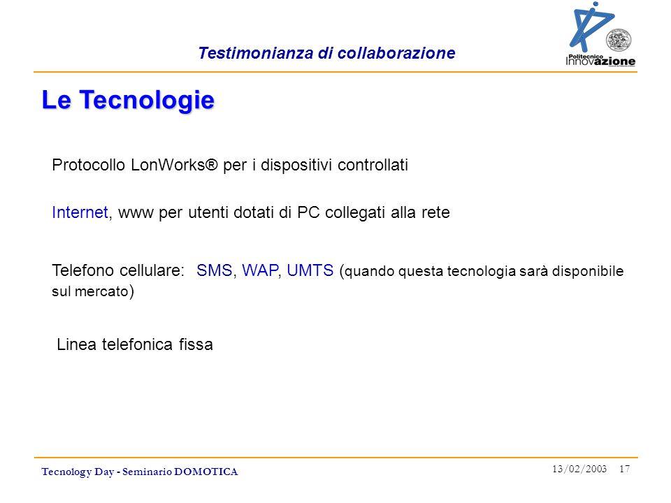 Testimonianza di collaborazione Tecnology Day - Seminario DOMOTICA 13/02/2003 17 Internet, www per utenti dotati di PC collegati alla rete Le Tecnolog