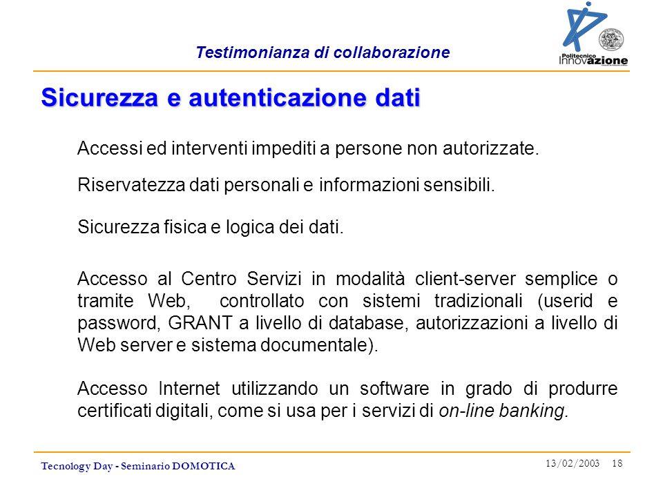 Testimonianza di collaborazione Tecnology Day - Seminario DOMOTICA 13/02/2003 18 Accessi ed interventi impediti a persone non autorizzate. Sicurezza e