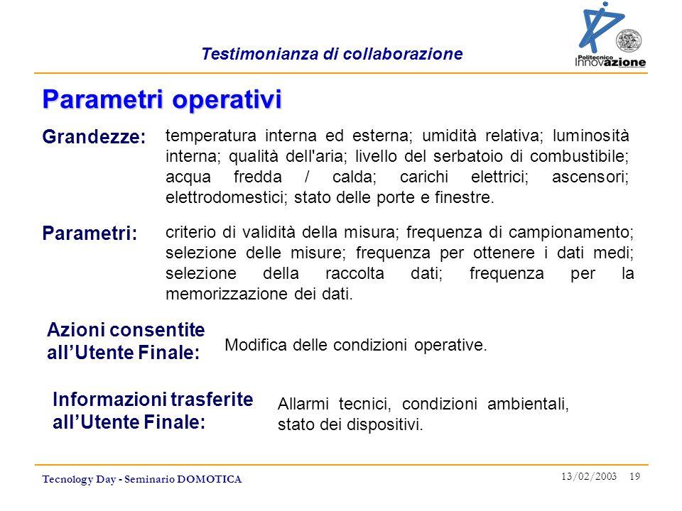 Testimonianza di collaborazione Tecnology Day - Seminario DOMOTICA 13/02/2003 19 Parametri operativi Grandezze: temperatura interna ed esterna; umidit