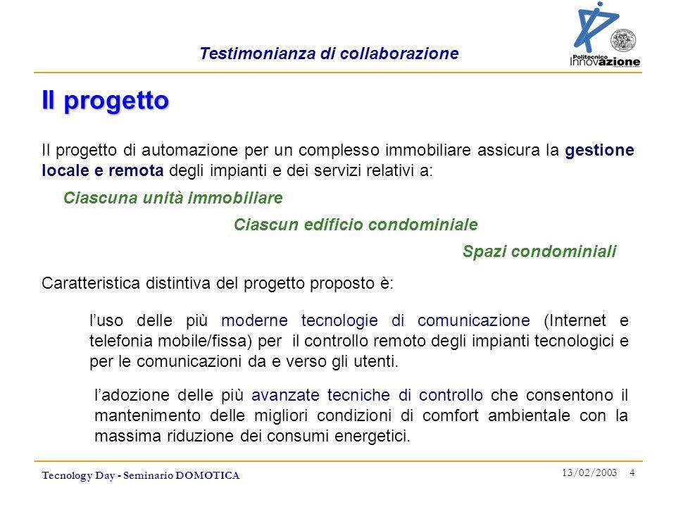 Testimonianza di collaborazione Tecnology Day - Seminario DOMOTICA 13/02/2003 4 Il progetto di automazione per un complesso immobiliare assicura la ge