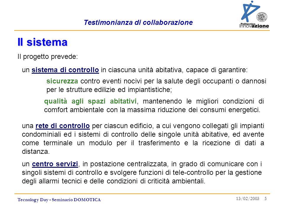 Testimonianza di collaborazione Tecnology Day - Seminario DOMOTICA 13/02/2003 5 Il progetto prevede: Il sistema un sistema di controllo in ciascuna unità abitativa, capace di garantire: qualità agli spazi abitativi, mantenendo le migliori condizioni di comfort ambientale con la massima riduzione dei consumi energetici.