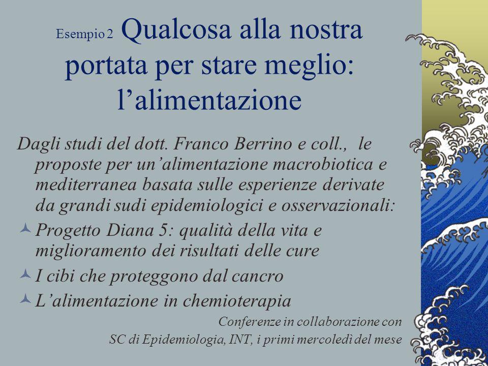 Esempio 2 Qualcosa alla nostra portata per stare meglio: l'alimentazione Dagli studi del dott. Franco Berrino e coll., le proposte per un'alimentazion