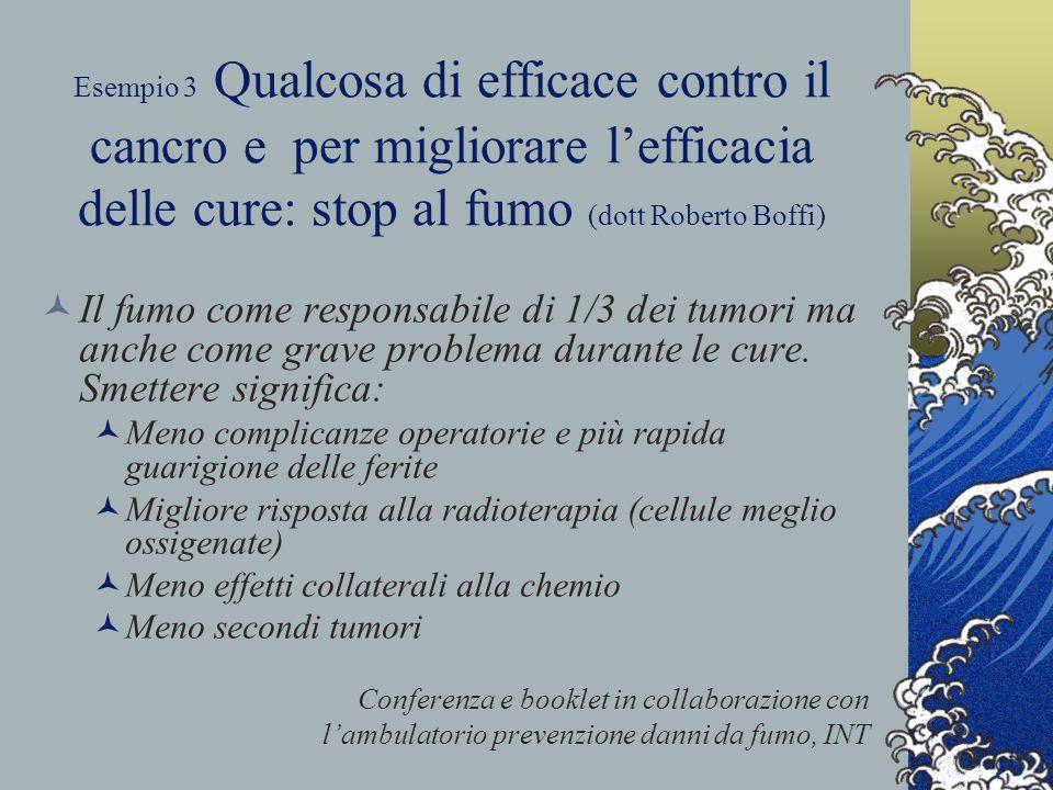Esempio 3 Qualcosa di efficace contro il cancro e per migliorare l'efficacia delle cure: stop al fumo (dott Roberto Boffi) Il fumo come responsabile di 1/3 dei tumori ma anche come grave problema durante le cure.