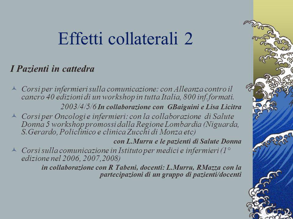 Effetti collaterali 2 I Pazienti in cattedra Corsi per infermieri sulla comunicazione: con Alleanza contro il cancro 40 edizioni di un workshop in tutta Italia, 800 inf.formati.