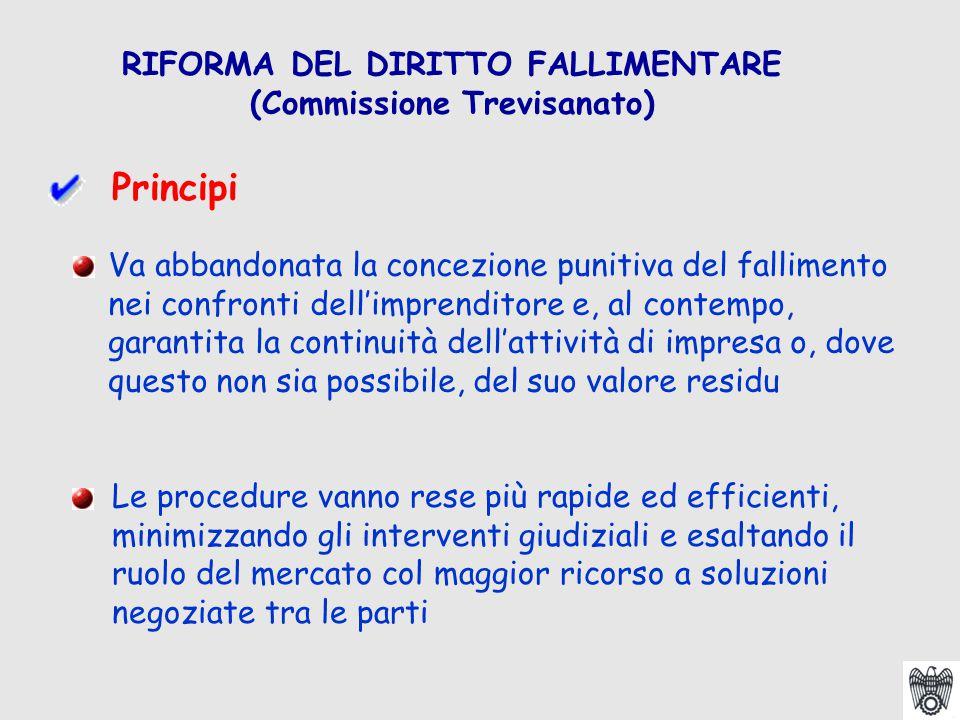 RIFORMA DEL DIRITTO FALLIMENTARE (Commissione Trevisanato) Va abbandonata la concezione punitiva del fallimento nei confronti dell'imprenditore e, al