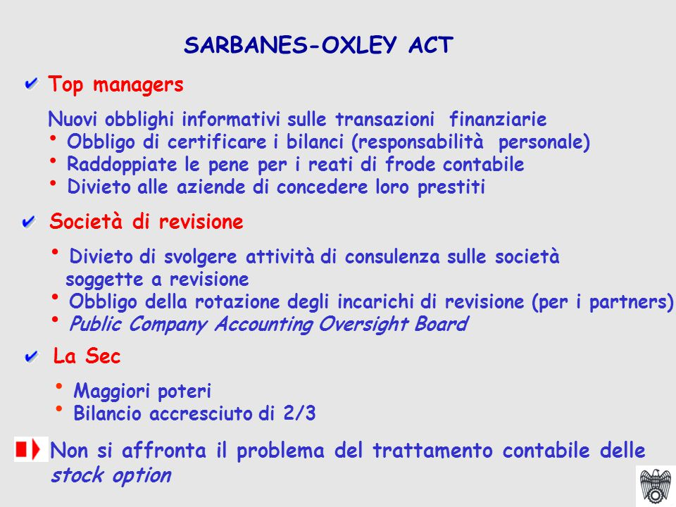 Top managers Nuovi obblighi informativi sulle transazioni finanziarie Obbligo di certificare i bilanci (responsabilità personale) Raddoppiate le pene