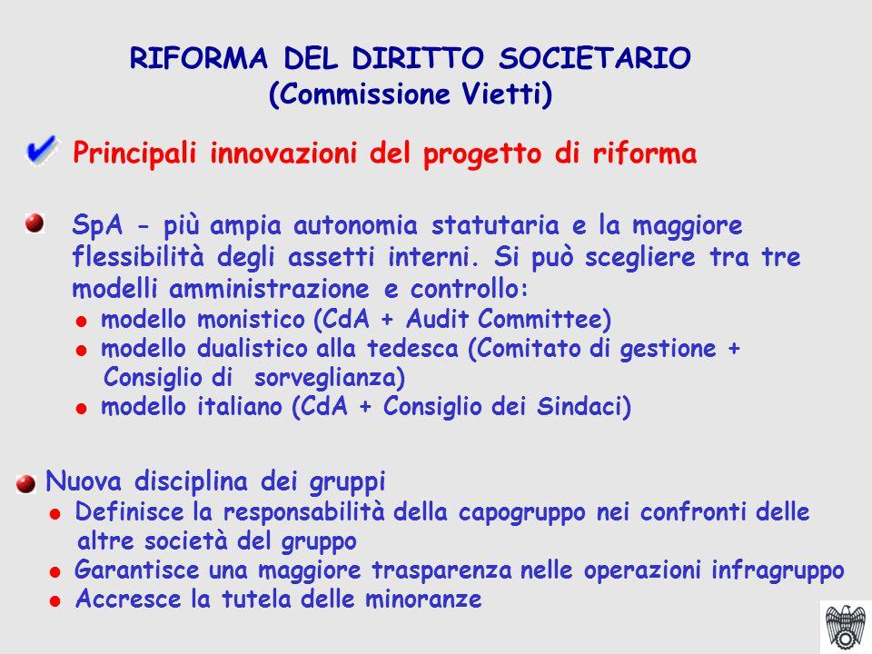 SpA - più ampia autonomia statutaria e la maggiore flessibilità degli assetti interni.