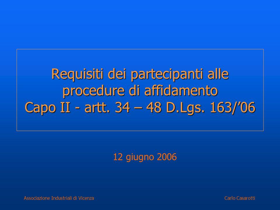 Carlo CasarottiAssociazione Industriali di Vicenza Requisiti dei partecipanti alle procedure di affidamento Capo II - artt. 34 – 48 D.Lgs. 163/'06 12
