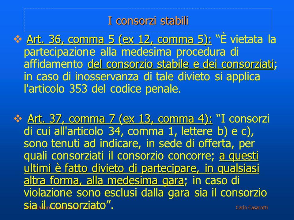 Carlo CasarottiAssociazione Industriali di Vicenza I consorzi stabili Art. 36, comma 5 (ex 12, comma 5): del consorzio stabile e dei consorziati  Art