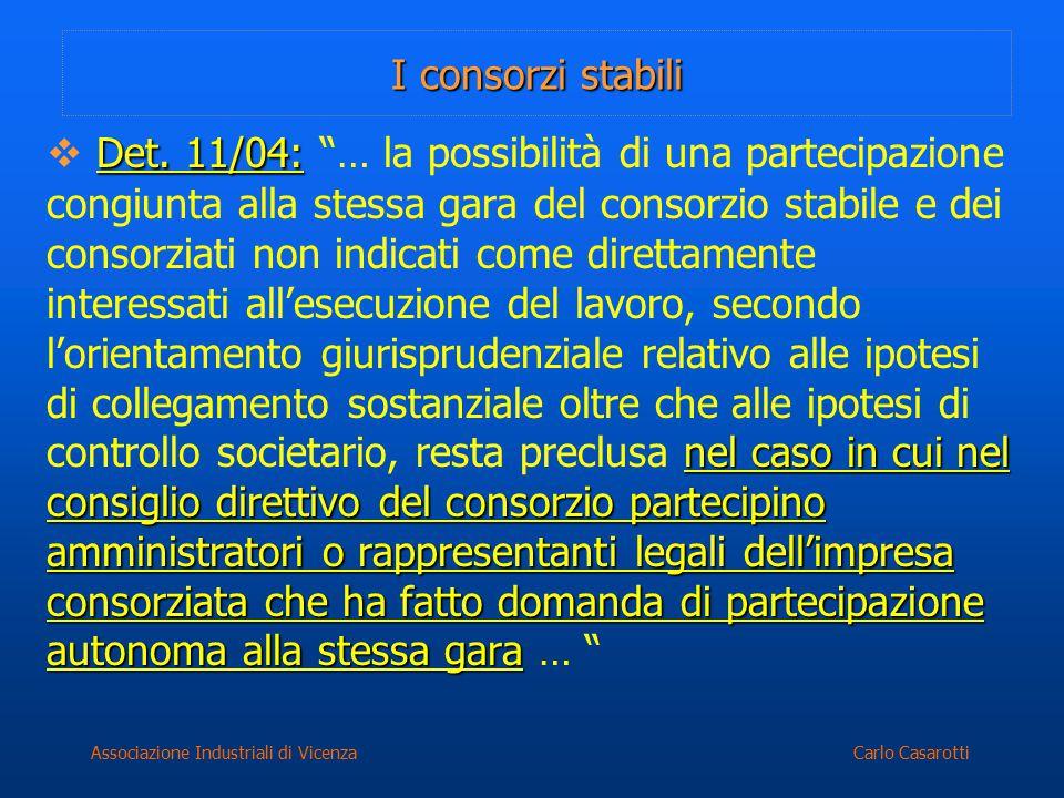 Carlo CasarottiAssociazione Industriali di Vicenza I consorzi stabili Det. 11/04: nel caso in cui nel consiglio direttivo del consorzio partecipino am