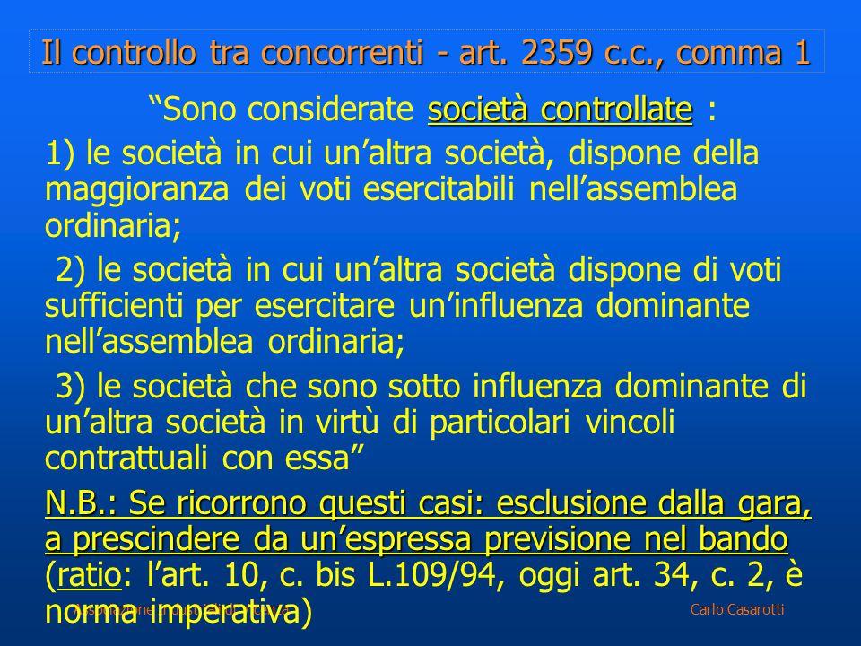 """Carlo CasarottiAssociazione Industriali di Vicenza Il controllo tra concorrenti - art. 2359 c.c., comma 1 società controllate """"Sono considerate societ"""