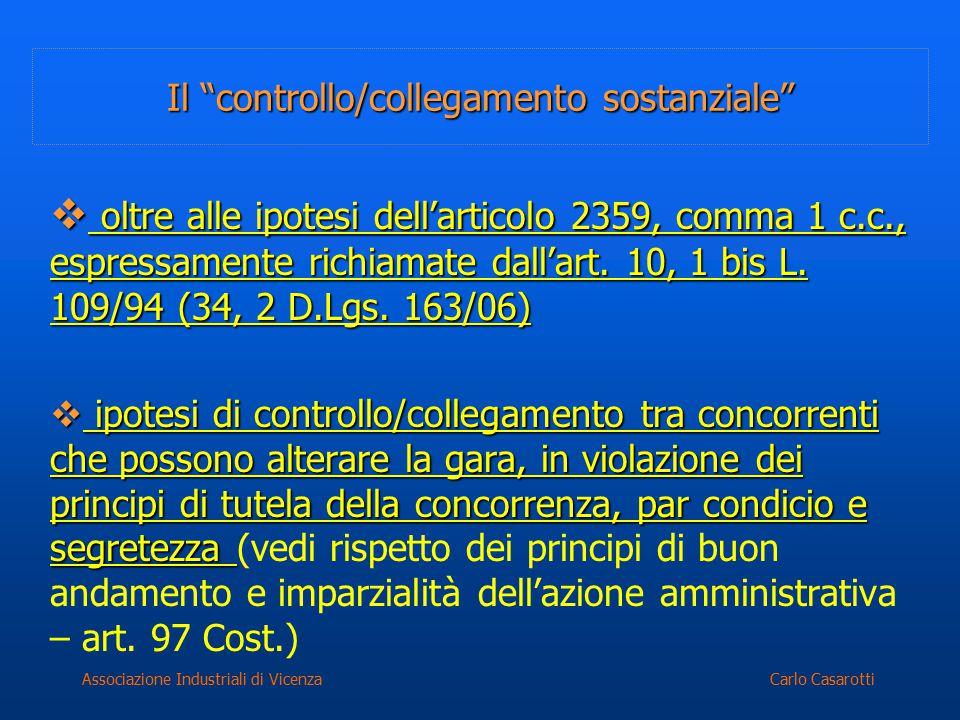 """Carlo CasarottiAssociazione Industriali di Vicenza Il """"controllo/collegamento sostanziale""""  oltre alle ipotesi dell'articolo 2359, comma 1 c.c., espr"""