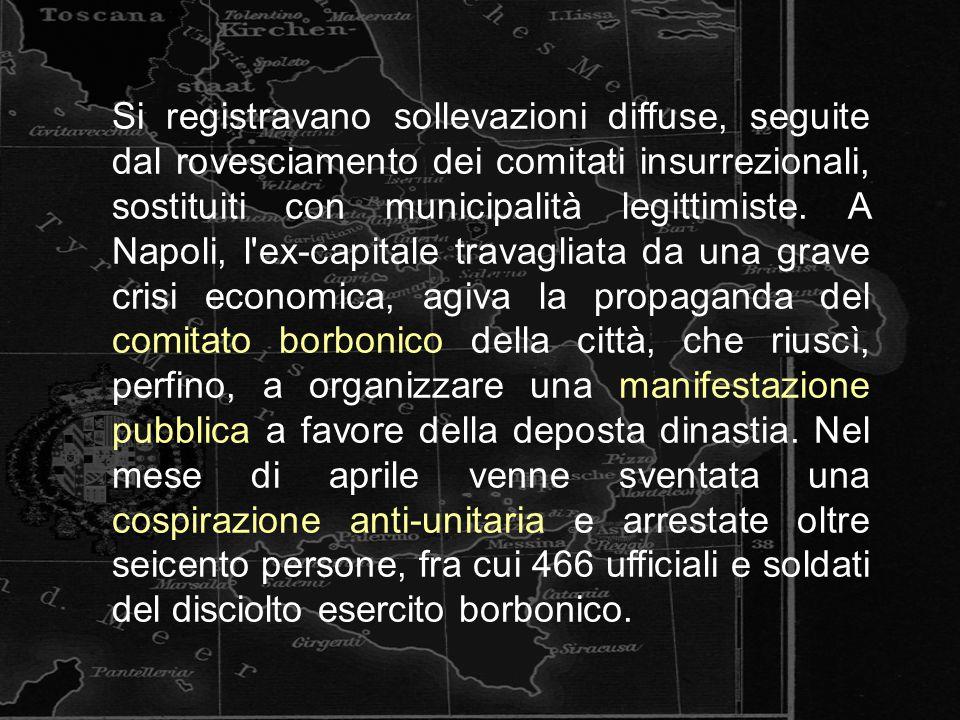 Si registravano sollevazioni diffuse, seguite dal rovesciamento dei comitati insurrezionali, sostituiti con municipalità legittimiste. A Napoli, l'ex-