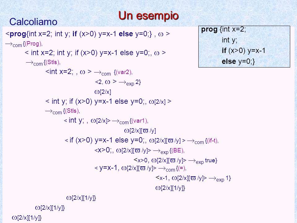 Semantica del programma e delle dichiarazioni  dcl  [  /x]  dcl  [  /x]  exp v  exp v  dcl  [v/x]  dcl  [v/x] (var1) (var2)  com   com   dcl   dcl  (prog)