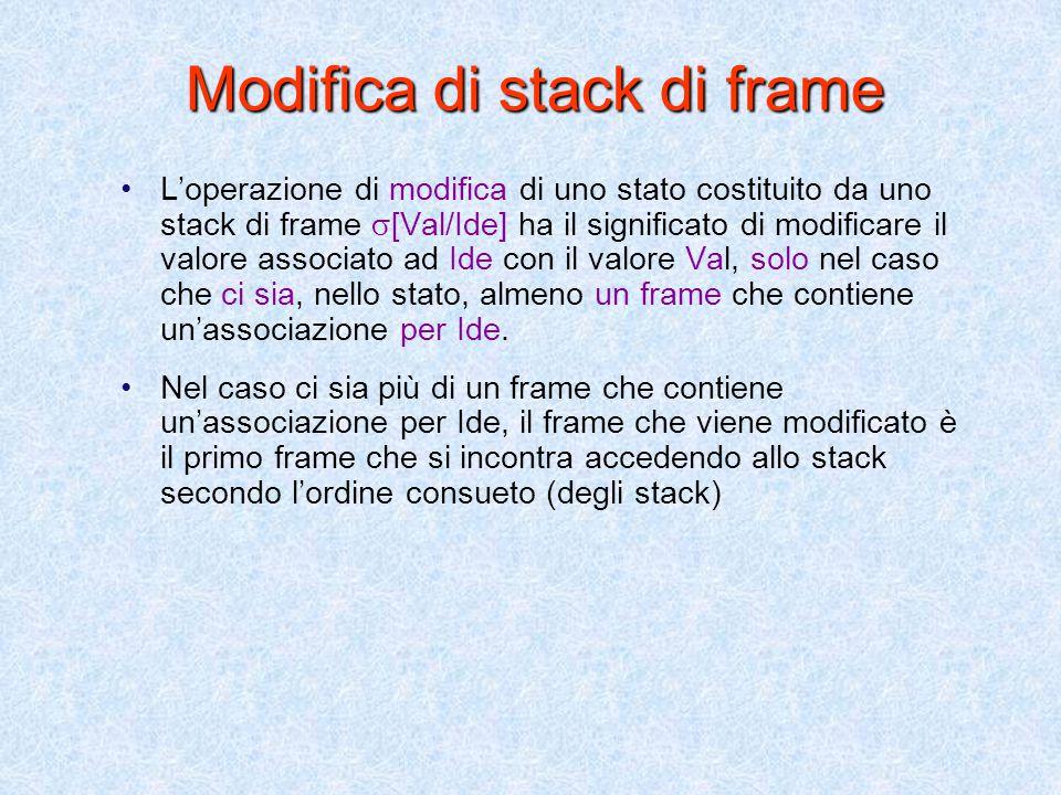 Selezione del valore di un identificatore nello stato (stack di frame)  (Ide)se  =  '   (Ide)    '(Ide) se  =  '   (Ide) =   (Ide)=  se  =  Formalmente abbiamo la seguente definizione ricorsiva: