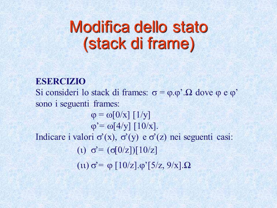 Modifica dello stato (stack di frame)  [Val/Ide].