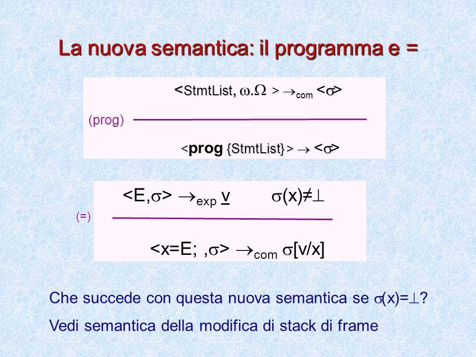 La nuova semantica: il Blocco e StmtList  com .  '  com .